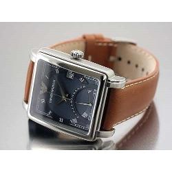 Emporio Armani - Square Steel Leather Strap Watch