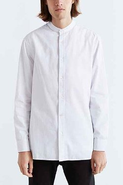 Urban Outfitters - Charles & 1/2 Mandarin Collar Button-Down Shirt