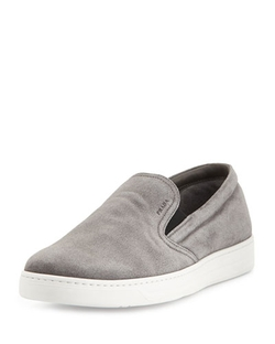 Prada - Leather Slip-On Sneakers