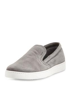 Prada - Leather Slip-On Sneakers