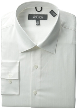 Kenneth Cole - Spread Collar Tonal Solid Woven Shirt