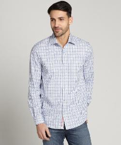 Report Collection  - Houndstooth Plaid Button Front Shirt