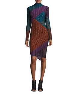 Opening Ceremony - Long-Sleeve Netted Mesh Colorblock Dress, Black/Multicolor