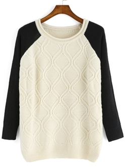 Romwe - Color-Block Diamond Pattern Sweater