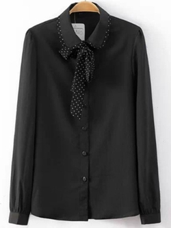 Romwe - Black Tie-Neck Sheer Chiffon Blouse
