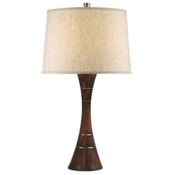 Lamps Plus - Tapered Wood Grain Column Table Lamp