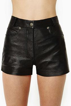 Nasty Gal - After Party Vintage Drag City Leather Shorts