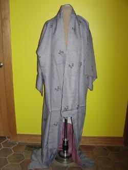 Rubylane - Blue Gray Lavender Full Length Kimono
