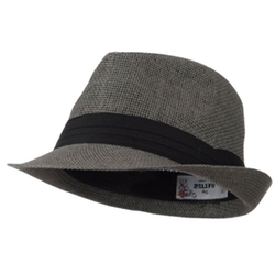 Hatter - Mens Pleated Band Solid Color Straw Fedora