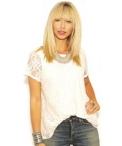 Show Me Your Mumu - Scamden Top In Flower Chain Lace Cream Top