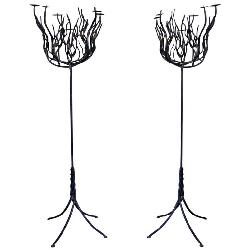 Getz - Pair of Art Deco Tree Shaped Wrought Iron Candle Holders Torchieres