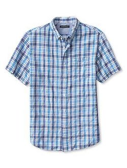 Banana Republic - Plaid Linen Cotton Short-Sleeve Shirt