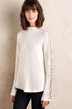 Knitted & Knotted - Laced Funnelneck Pullover