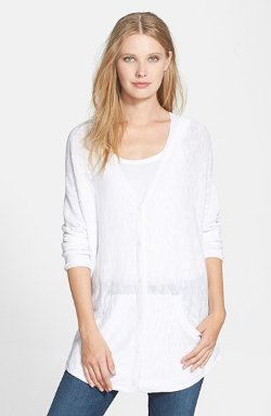 Eileen Fisher  - Organic Linen & Cotton V-Neck Cardigan