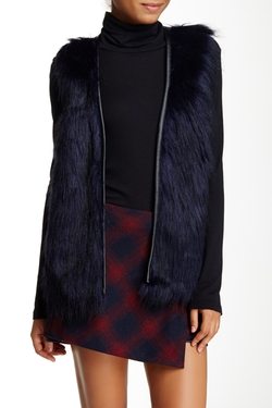 Love On A Hanger  - Pleather Trim Faux Fur Vest