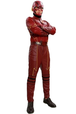 Xcoser - Flash Costume Deluxe Suit Superhero Cosplay Halloween Red Outfit