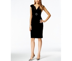 Connected  - Petite Cap-Sleeve Velvet Sheath Dress
