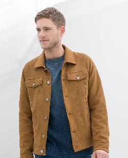 Zara - FAUX SUEDE DENIM STYLE JACKET WITH POCKET