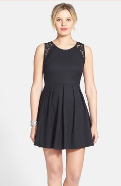 Lush - Lace Trim Pleated Skater Dress