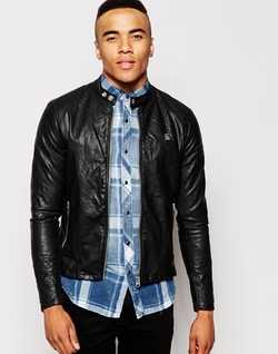 G-Star -  Faux Leather Biker Jacket