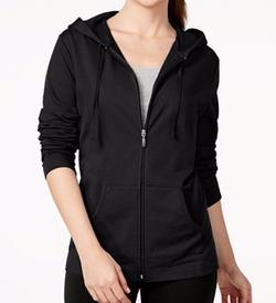 Karen Scott Petite - Solid Front-Zip Hoodie