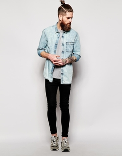Quiksilver - Denim Shirt With Acid Wash Slim Fit