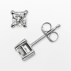 Forever Brilliant Moissanite  - White Gold Cushion-Cut Lab-Created  Stud Earrings