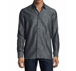 Sebastien James  - Solid Linen-Blend Long-Sleeve Sport Shirt