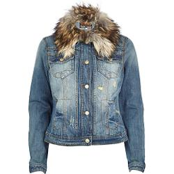 River Island - Mid Wash Faux Fur Collar Denim Jacket