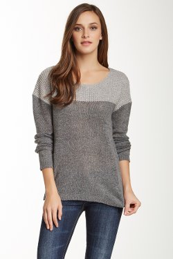 Olivia Sky  - Fleck Yarn Split Back Sweater