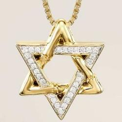 John Hardy  - Bamboo Yellow Gold Star of David Necklace with Pave Diamonds