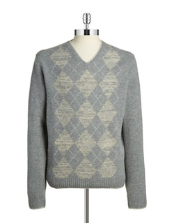 Black Brown 1826 - Argyle V-Neck Sweater