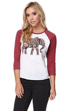 Riot Society - Ornate Elephant Raglan T-Shirt