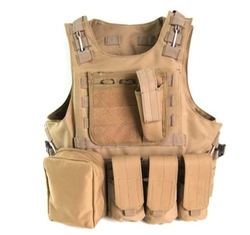 Mrsight - Tactical Molle Airsoft Vest Paintball Combat Soft Vest Tan