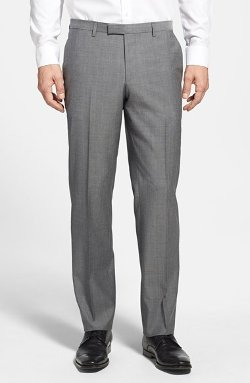 Hugo Boss - Shark Flat Front Plaid Wool Trousers