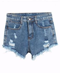 Chicnova - Washed Fray-Hem Ripped Denim Shorts