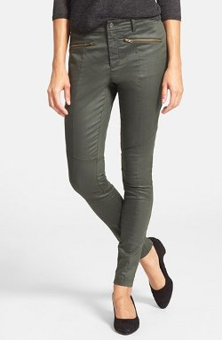 Eileen Fisher  - Coated Denim Skinny Moto Jeans