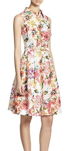 Teri Jon By Rickie Freeman - Floral Jacquard Shirtdress