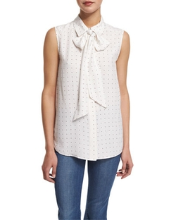 Frame Denim  - Le Scarf Sleeveless Dot-Print Blouse