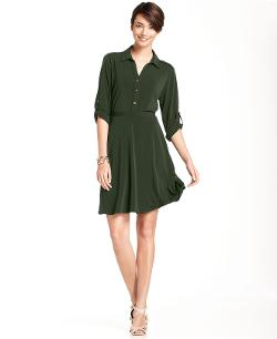 NY Collection  - Petite Dress, Roll-Tab-Sleeve Shirtdress