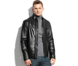 Cole Haan - Smooth Leather Moto Jacket