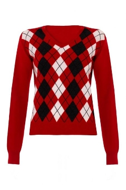Scottish Wear  - Ladies Cashmere Argyle V Neck Sweater