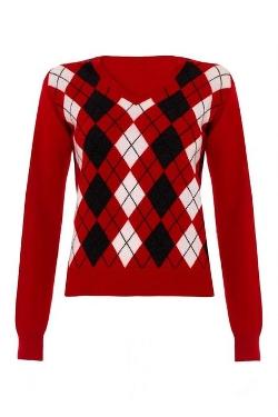 Scottish Wear  - Ladies Cashmere Argyle V Neck Sweater