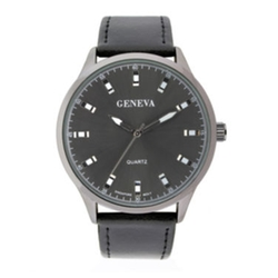 Geneva - Mens Leather Strap Watch