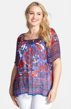 Lucky Brand  - Border Print Sheer Floral Peasant Top
