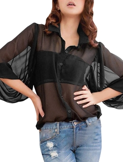 Allegra K - Sheer Button Down Top