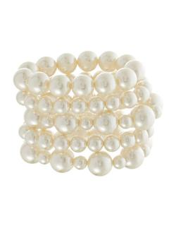 CARA - Five Piece Faux Pearl Bracelet Set