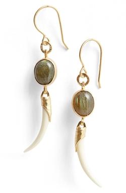 Heather Benjamin - Labradorite& Bone Drop Earrings