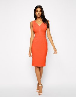 ASOS  - Pencil Dress with V Neck in Texture