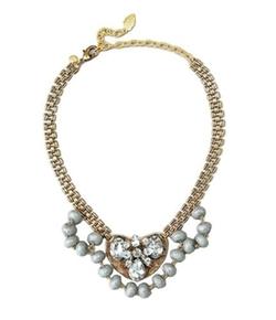 David Aubrey  - Turquoise & Crystal Art Deco Statement Necklace
